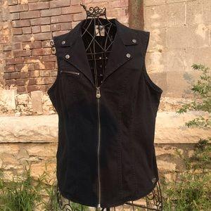 Harley-Davidson 2x Black Vest with Corset Back